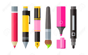 Painting Tools Pen Pencil And Marker Flat Design. Painting And ...