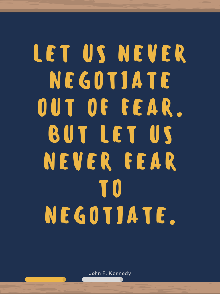 Let us never negotiate out of fear. But let us never fear to negotiate. John F. Kennedy design by Kingston S. Lim